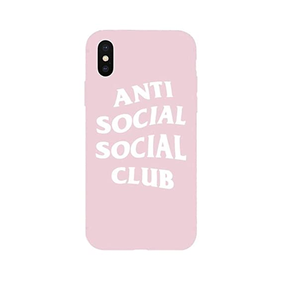 e4e16ef7d713 Amazon.com  New ASSC Anti Social Club Logo Soft Case for iPhone Silicone  Cases Coque Capa Anti White on Pink for iPhone 5 5s SE  Cell Phones    Accessories