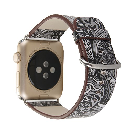 MeShow TCSHOW 38mm Soft PU Leather National Style Replacement Strap Wrist Band Bracket Silver Metal Clasp Compatible Apple Watch Series 3/2/1 (D)