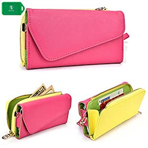 clutch smartphone holder with removable wrist strap and crossbody chain in hot pink /yellow desirable fit for Gionee Elife E7