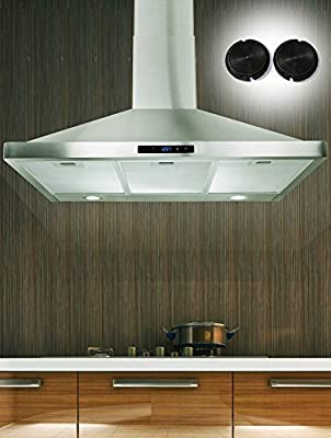 "FIREBIRD 36"" Wall-mounted Stainless Steel Range Hood with Touch Screen Control Panel, Charcoal Filters / Carbon Filters Included! High-end LED Lights"