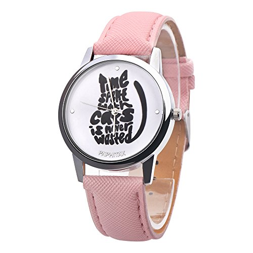 Price comparison product image Big promotion ! Women 's Watch,  ZOMUSA Cute Letters Cats Cute Leather Band Analog Alloy Quartz Watch (Pink)