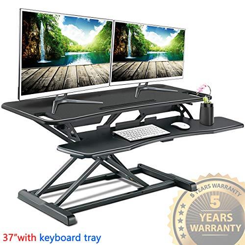 (IMtKotW Standing Desk Converter-Height Adjustable Sit Stand Desk Riser-Stand up Tabletop Computer Workstation with Keyboard Tray-Desktop Lifter fits Dual Monitor 37.4