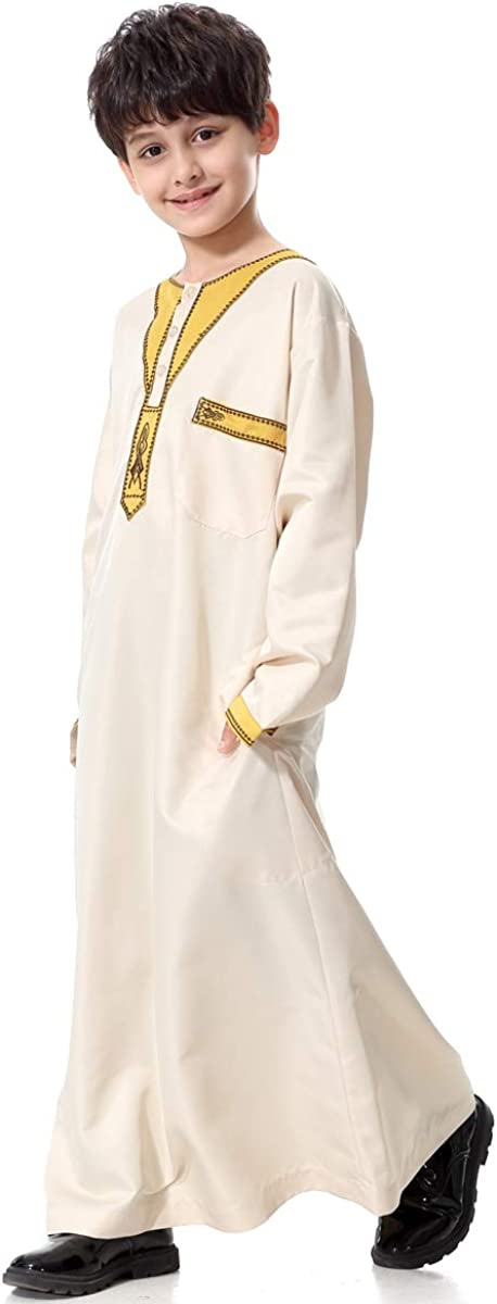XDXART Boy/'s Muslim Spring and Summer Long Sleeve Robe Islamic Long Coat Round Neck Moroccan Kaftan Caftan Gown