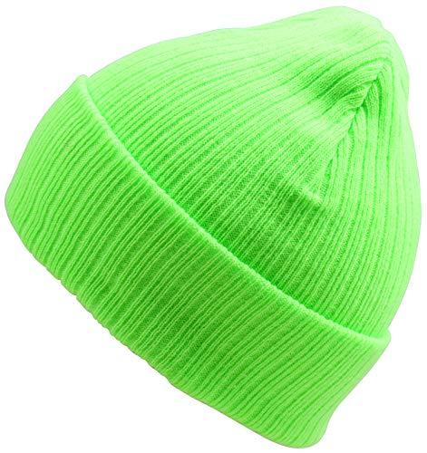 Cloth Green Cap (WDSKY Women's Rib Knit Beanie Hat Fashion Cuffed Neon Green)