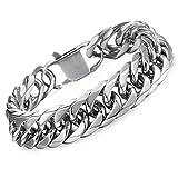 stainless steel bracelet men - Hermah Heavy Mens Bracelet Chain 316L Stainless Steel Silver Punk Double Curb Cuban Rombo Link 15mm 8inch