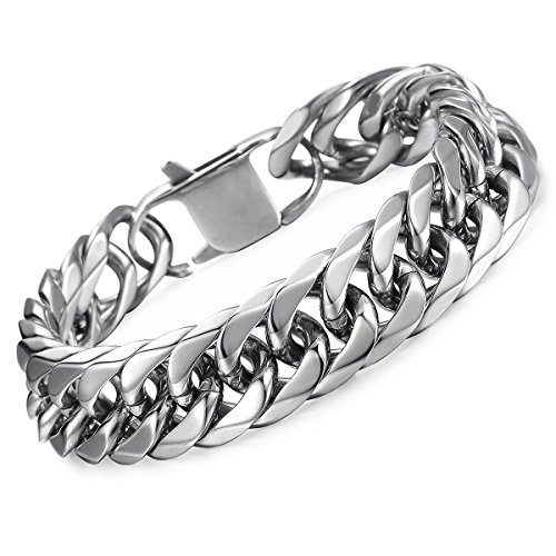 Hermah Heavy Mens Bracelet Chain 316L Stainless Steel Silver Punk Double Curb Cuban Rombo Link 15mm 9inch Collection Stainless Steel Bracelet
