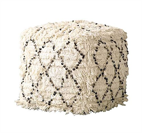 White Cotton Moroccan Wedding Quilt Pouf