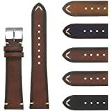 DASSARI Regal II Quick Release Vintage Italian Leather Watch Band Strap w/Hand Sewn Stitching 16mm 18mm 19mm 20mm 21mm 22mm 24mm 26mm