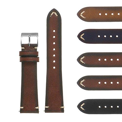 (DASSARI Regal II Quick Release Vintage Italian Leather Watch Band Strap w/Hand Sewn Stitching 16mm 18mm 19mm 20mm 21mm 22mm 24mm 26mm)