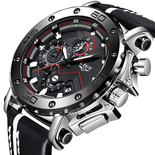 LIGE Mens Watches Military Fashion Leather Casual Business Wristwatch Sports Analogue Quartz Multifunction Waterproof Date Chronograph Classic Clock