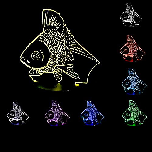 YANGHX 3D Illusion Goldfish Halloween Optical Illusion LED USB Table Night Light Remote Desk Lamp Lighting for Halloween Decorations (Goldfish Lamp)