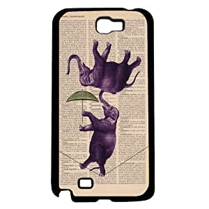Whimsical Purple Circus Elephants Walking Tightrope on Book Page Background Hard Snap on Phone Case (Note 2 II)