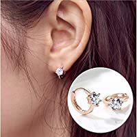 St. Lun 925 Sterling Silver Earrings, Six Claw Zircon Heart Round Stud Earrings, Korean Womens Sterling Silver Earrings (Color : White gold)