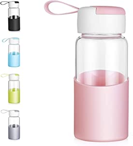 Small Glass Water Bottle for Kids - ZDZDZ 12 Oz Cute Water Bottle with Lid and Sleeve - Wide Mouth Milk Glass Bottle for School Office Outdoor Sport