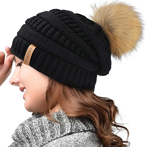 (FURTALK Womens Winter Knit Beanie Hat Skull Cap Slouchy Beanie Pom Pom Hats for Women )