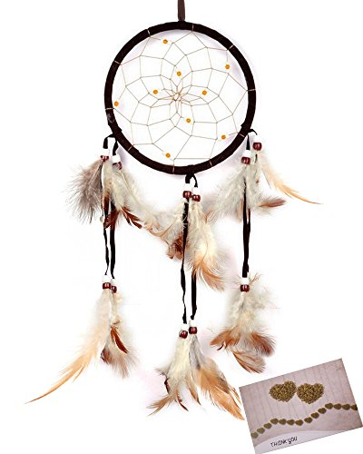 BSLINO Dream Catchers Brown Handmade Beaded Feather Native American Dreamcatcher Circular Net For Car Kids Bed Room Wall Hanging Decoration Decor Orna…