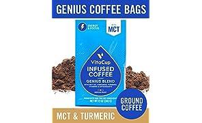 VitaCup Genius Blend Ground Coffee Bags 12oz with MCT, Turmeric, Cinnamon, Vitamins B1, B5, B6, B9, B12, D3 | Keto | Paleo | Whole30 Friendly, for Drip Coffee Brewers and French Press
