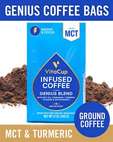 - VitaCup Genius Blend Ground Coffee Bags 12oz with MCT, Turmeric, Cinnamon, Vitamins B1, B5, B6, B9, B12, D3 | Keto | Paleo | Whole30 Friendly, for Drip Coffee Brewers and French Press