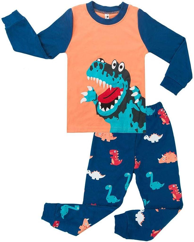 Pigiama Bambino Topgrowth Felpa Dinosauro Stampare Pigiama A Maniche Lunghe per Ragazzi Due Pezzi Neonata Camicia da Notte Tops Pantaloni Set