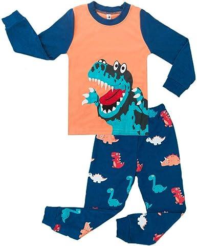 Topgrowth Pigiama Bambino Dinosauro Stampare Pigiama A Maniche Lunghe per Ragazzi Due Pezzi Neonata Biancheria da Notte Tops Pantaloni Set