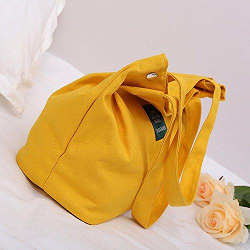 Canvas Simple Handbag Women Girls BURFLY Letter Female Retro Shoulder Crossbody Bag Yellow xZ4ACYqw