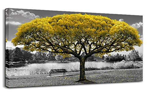 Black and White Canvas Wall Art for Living Room Large Print Picture Painting Yellow Tree Landscape Decoration Modern Framed Artwork for Home Bedroom (20x40inchx1) ()