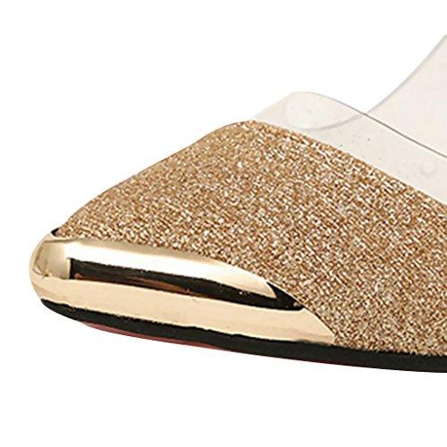 Estimadas Mujeres Time Slip On Puinted Toe Pumps Zapatos Dorados