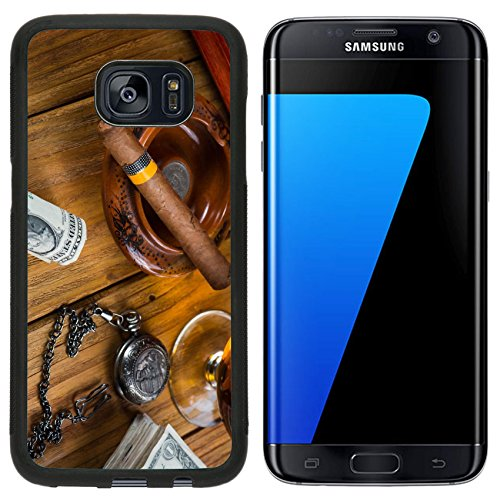 - MSD Premium Samsung Galaxy S7 Edge Aluminum Backplate Bumper Snap Case Relaxing cuban cigar after hard day with glass of Rum IMAGE 35318692