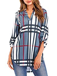 St Jubileens Women Roll Up 3 4 Sleeve Plaid Shirt Tunic V Neck Casual Pullover Blouses Tops Us18 Xx Large Gray
