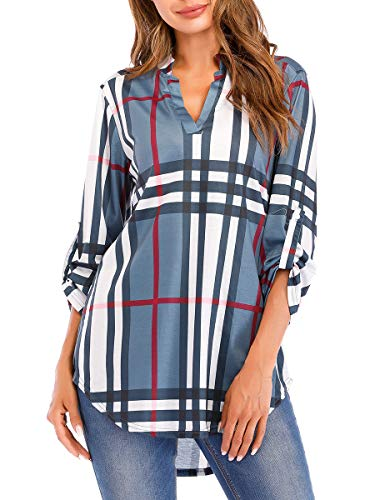(St. Jubileens Women Roll-Up 3/4 Sleeve Plaid Shirt Tunic V Neck Casual Pullover Blouses Tops ((US8-10) Medium,)