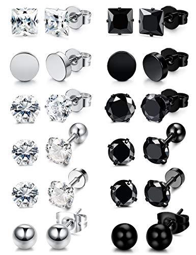 Besteel 12 Pairs Stainless Steel Black White Stud Earrings for Men Women Cool CZ Ear Piercing Earring Jewelryy 5mm