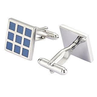 UM joyería Rodio Chapado Clásico Solar Panel Cuadrado Bloquear Gemelos, Azul Plata Dos Tono