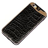Fine Crocodile Alligator Lettered Pattern Leather Metal Frame Protective Case Handmade for Apple iPhone 7 Plus iPhone 6 6S Plus Brown