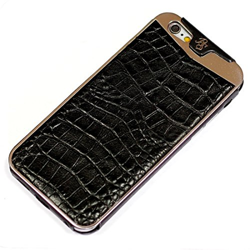Fine Crocodile Alligator Lettered Pattern Leather Metal Frame Protective Case Handmade for Apple iPhone 7 Plus iPhone 6 6S Plus Brown by BestSkin - VertuiPhoneiPad Leather cases