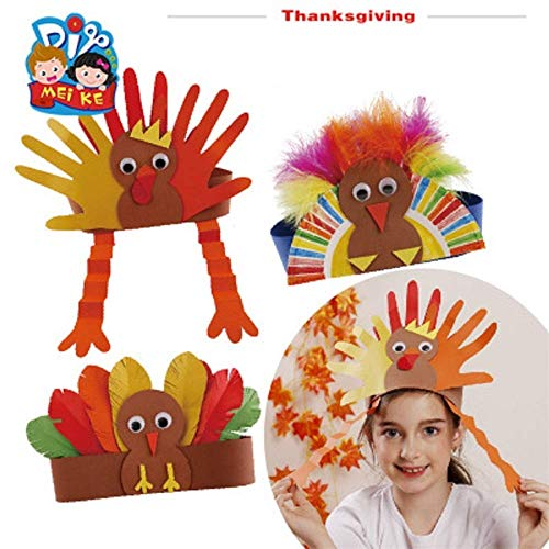 (Luckygoo Turkey Craft Kit,3 Pack DIY Thanksgiving Turkey Headbands Turkey Hat DIY Handmade Headband Headdress Kids Adults Thanksgiving Gifts- One Size Fits)