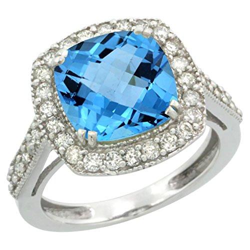 14K White Gold Natural Swiss Blue Topaz Ring Cushion-cut 9x9mm Diamond Halo, size 5 ()
