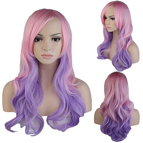 Synthetic Ombre Long Wavy Full Wig with Oblique Bangs for Women Cosplay Party Fashion Costume 24'' / 60cm Heat Resistant Japanese Kanekalon Fiber(Mix Pink Purple) -