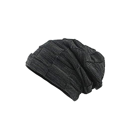 Image Unavailable. Image not available for. Color  URIBAKE ❤ Men s Baggy Beanies  Knitted Stretch Thick Winter Warm Crochet Skull Ski Slouchy Caps Hat d55be5356700