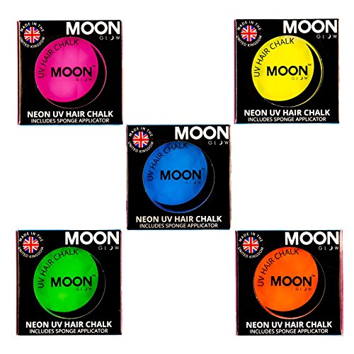 Moon Glow - Blacklight Neon Hair Chalk 0.12ozSet of 5 colors– Glows brightly under Blacklights / UV Lighting! by Moon Glow
