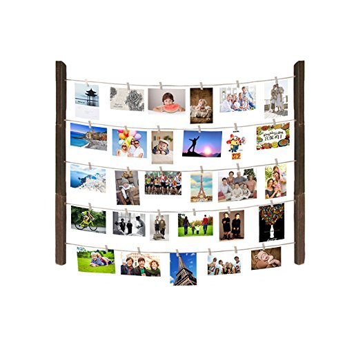 MAGGIFT Hanging Photo Display, Hanging Pictures Holders with wooden Clips (Mounting Hardwares Not Included)