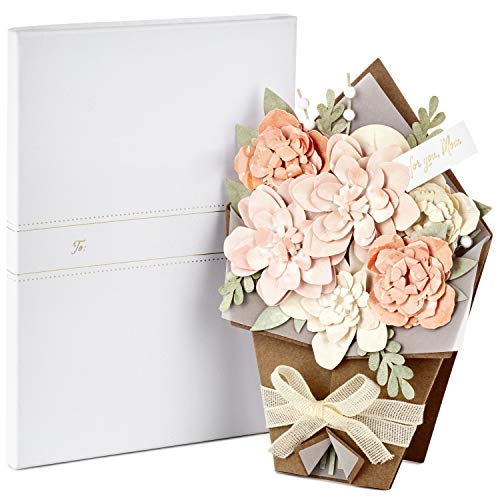 Hallmark Signature Paper Craft Flowers Displayable Bouquet Mothers Day Card for Mom (So ()