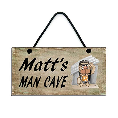 PotteLove Personalised Man Cave Man Cave Rustic Wood Wall Art Home Family Decoration Design Plank Plaque Sign ()