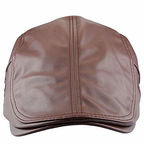 squaregarden Flat Caps for Men, Beret Leather Hat Cabbie Gatsby Newsboy Cap Ivy Irish Hats, Coffee