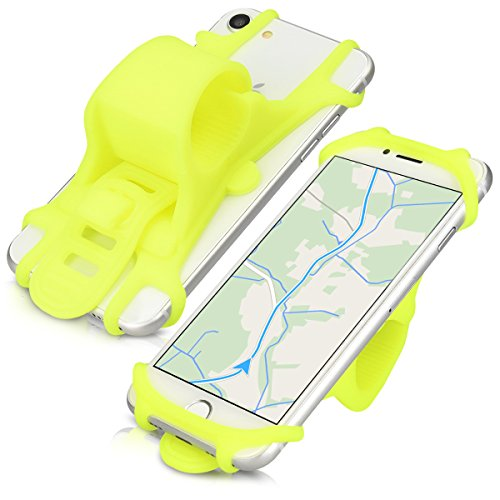 kwmobile Bike Phone Mount for Smartphone - Universal Anti-Slip Protective Flexible Silicone Mobile Cell Bicycle Holder - Neon Yellow