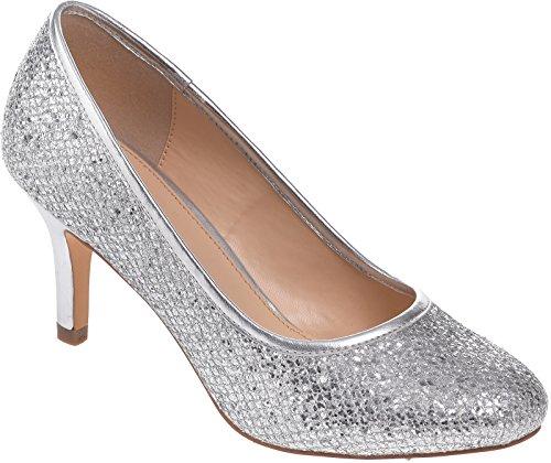 Ladies Lexus Medium Heel Court Shoe with Glitter and Patent Design Silver Glitter gLeyAAFkT