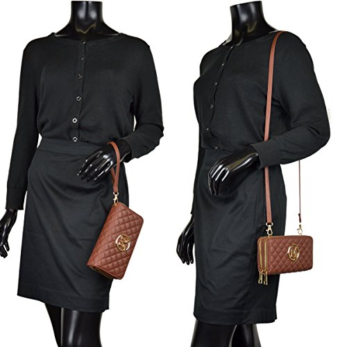 Clutch Wristlet Travel Leather Crossbody Wallet 1050 Bag Shoulder brown Purse Bag Women wAqI6Czz