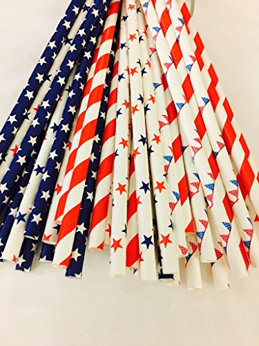 Patriotic Straw - Confetti PaperWerks Patriotic Straws - 100% Biodegradable (Pack of 100 Multiple Variety), Excellent Quality Straws for Celebrations, Parties, Holidays and Much More.