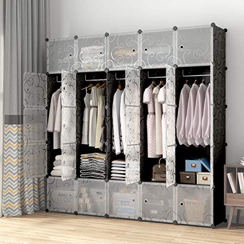 KOUSI Portable Closets 14x18 Depth Cube Wardrobe Closet Wardrobe in Closet Armoire Wardrobe Closet Bedroom Armoire Room Closet