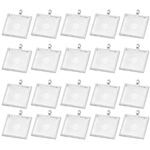 IGOGO New 20 Pcs Square Pendant Trays Blanks Cameo Bezel Cabochon Settings - 25x25 mm Silver Color (25 Mm Square Bezel)