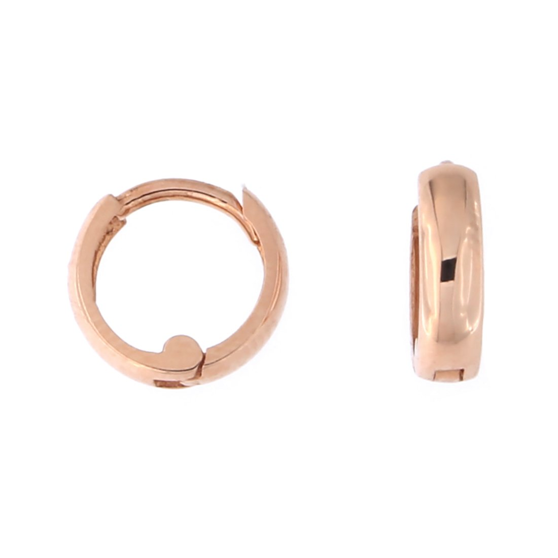14k Rose Gold 2.5mm Tiny Huggie Hoop Cartilage Earrings, 9mm (3/8 in)